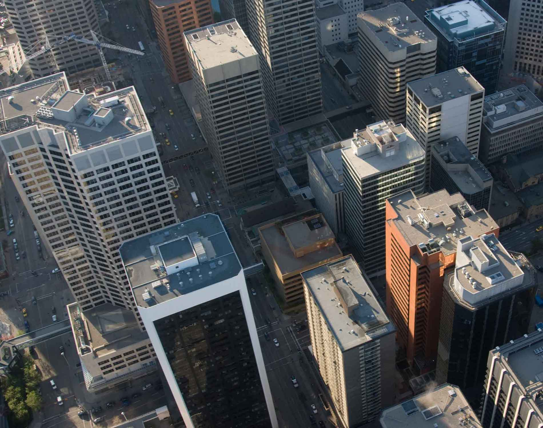 Arial view of skyscrapers